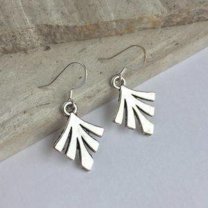 Silver fan Charm Earrings